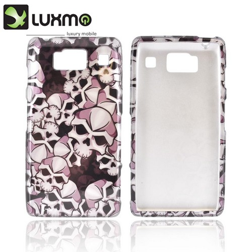 Motorola Droid RAZR HD Hard Case - Silver Skulls on Black