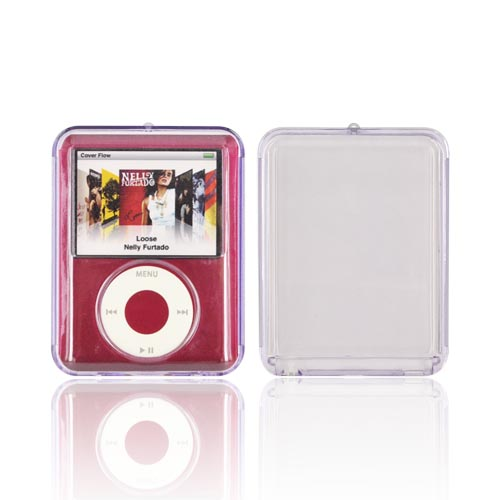 Apple iPod Nano Video Hard Case w/ Silver Strap - Transparent Purple