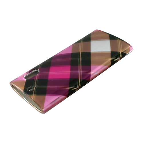 Apple iPod Nano 5 Hard Case - Checkered Pattern of Hot Pink, Brown on Silver