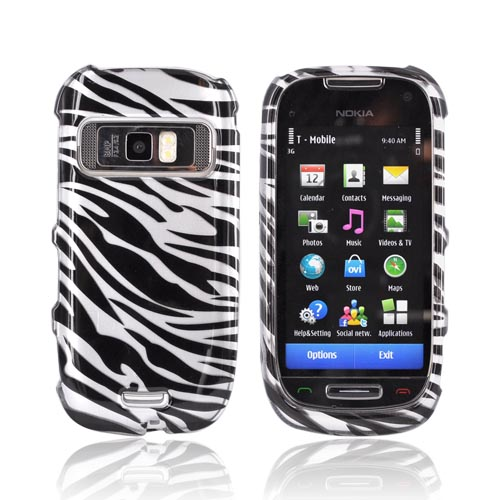 Nokia Astound C7-00 Hard Case - Black Zebra on Silver