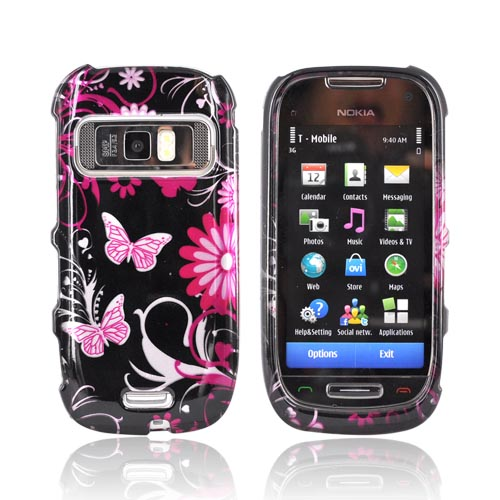 Nokia Astound C7-00 Hard Case - Hot Pink Butterflies & Flowers on Black