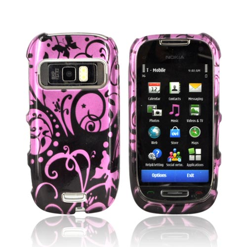Nokia Astound C7-00 Hard Case - Black Swirls Design on Purple