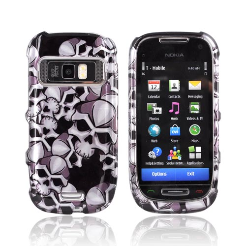 Nokia Astound C7-00 Hard Case - Silver Skulls on Black