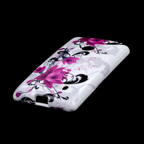 Magenta Flowers w/ Black Vines on White Hard Case for Nokia Lumia 521