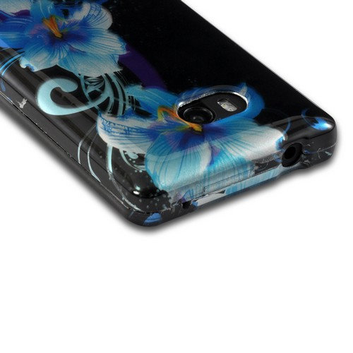 Blue Flower on Black Hard Case for Nokia Lumia 810