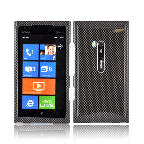 Nokia Lumia 900 Hard Case - Black/ Gray Carbon Fiber