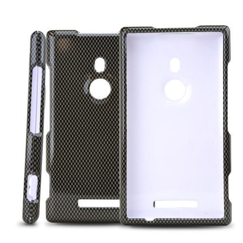 Gray/ Black Carbon Fiber Design Hard Case for Nokia Lumia 925