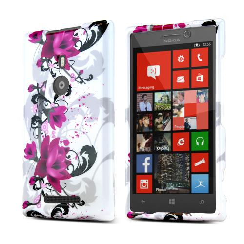 Magenta Flowers w/ Black Vines on White Hard Case for Nokia Lumia 925