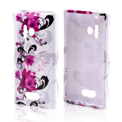 Magenta Flowers & Black Vines on White Hard Case for Nokia Lumia 928