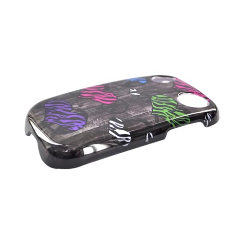 Palm Pre 2 Hard Case - Zebra Heart Peace Signs on Black Design