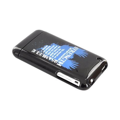 Apple iPhone 3G 3GS Passion Series Hard Case - Blue Strength 2 Samuel 22:11-33 on Black