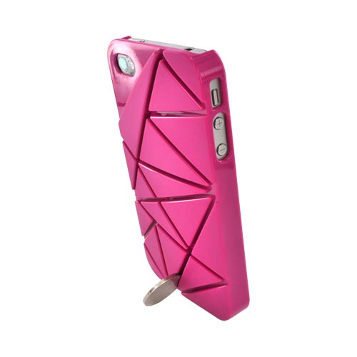 AT&T/ Verizon Apple iPhone 4, iPhone 4S Hard Case w/ Geometric Shapes - Magenta