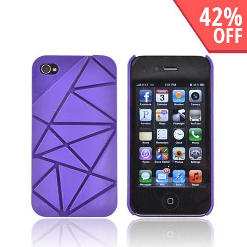 AT&T/ Verizon Apple iPhone 4, iPhone 4S Hard Case w/ Geometric Shapes - Purple