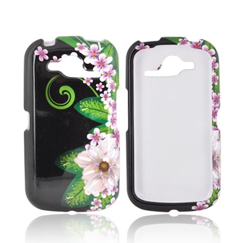 Pantech Burst 9070 Hard Case - Pink/ Purple Flower on Black