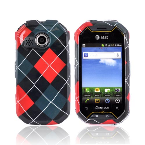 Pantech Crossover P8000 Hard Case - Red/ Gray/ Black Argyle