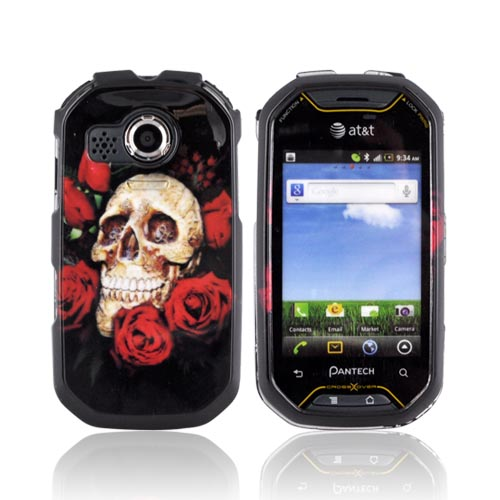 Pantech Crossover P8000 Hard Case - Skull & Red Roses on Black