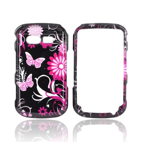 Pantech Caper Hard Case - Pink Butterflies & Flowers on Black