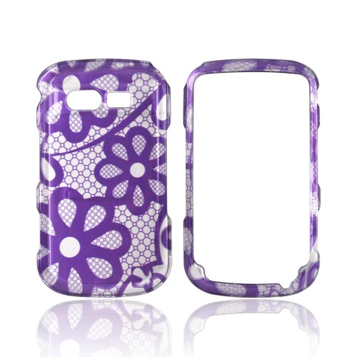 Pantech Caper Hard Case - Purple Flowers on Silver