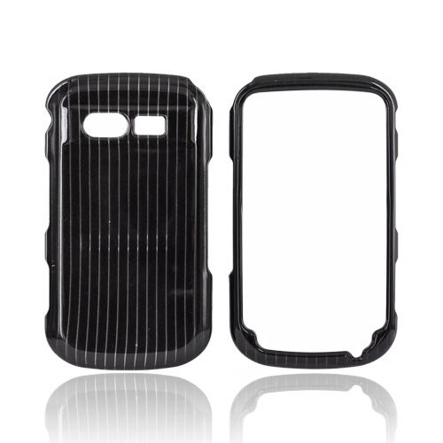 Pantech Caper Hard Case - Silver Lines on Black