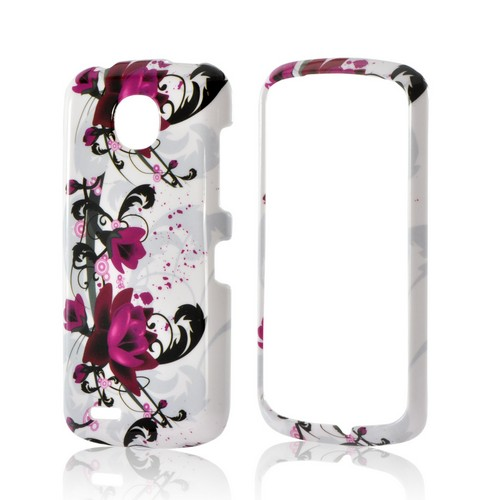 Magenta Flowers & Black Vines on White Hard Case for Pantech Marauder