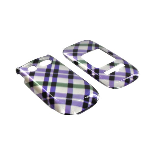 Pantech Breeze 3 Hard Case - Purple & Green Plaid on Silver