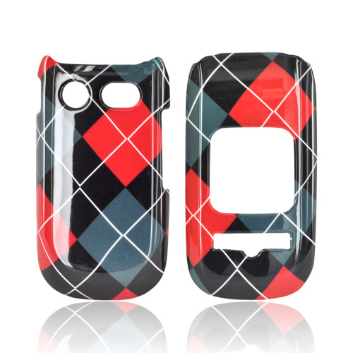 Pantech Breeze 3 Hard Case - Red/ Black/ Gray Argyle