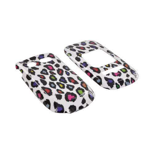 Pantech Breeze 3 Hard Case - Rainbow Leopard on White