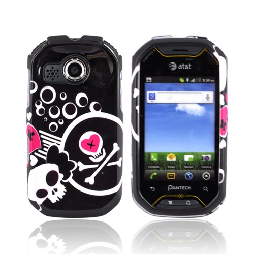 Pantech Crossover P8000 Hard Case - White Skulls & Pink Hearts on Black