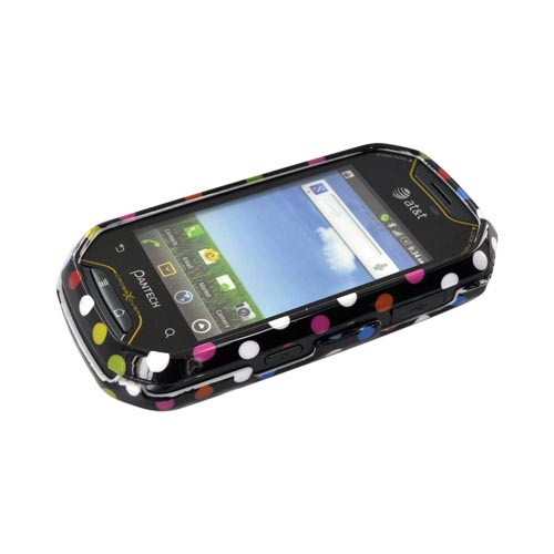 Pantech Crossover P8000 Hard Case - Rainbow Polka Dots on Black