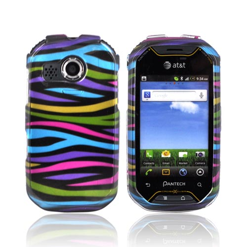 Pantech Crossover P8000 Hard Case - Rainbow Zebra on Black