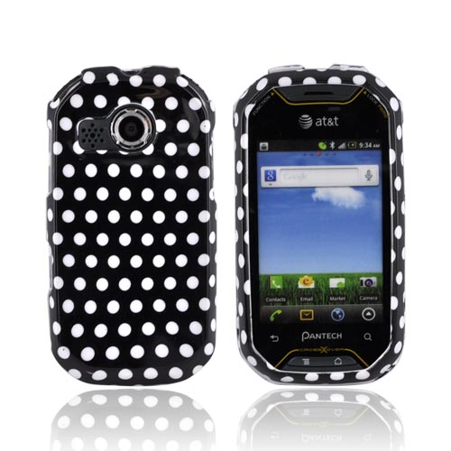 Pantech Crossover P8000 Hard Case - White Polka Dots on Black