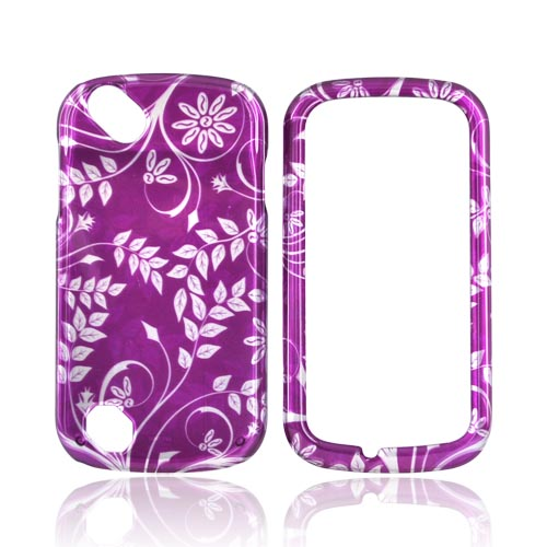 Pantech Laser P9050 Hard Case - Purple Floral Design on Silver