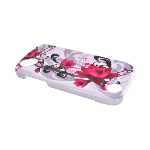Pantech Laser P9050 Hard Case - Pink Flowers on White