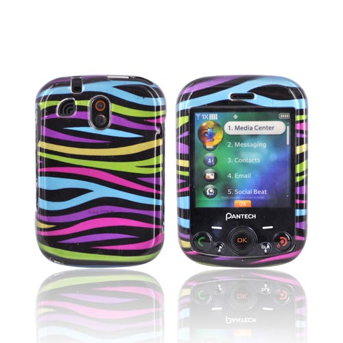 Pantech Jest TX8040 Hard Case - Rainbow Zebra on Black