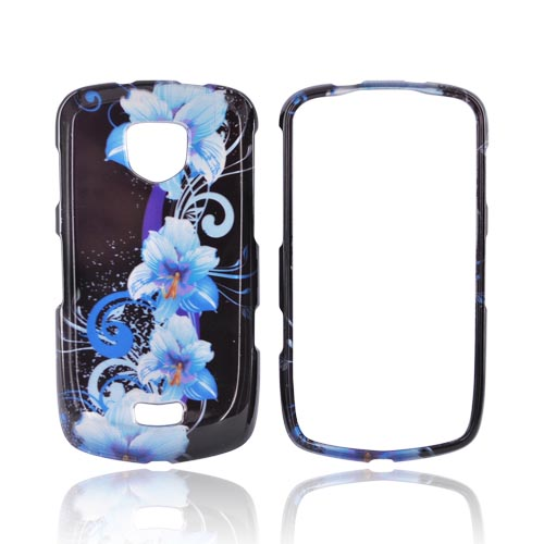 Samsung Droid Charge Hard Case - Blue Flowers on Black