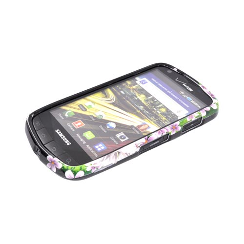 Samsung Droid Charge Hard Case - White/ Green Flower on Black