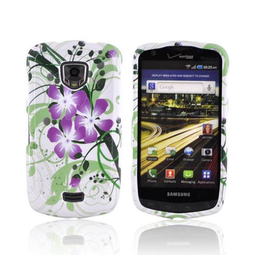 Samsung Droid Charge Hard Case - Purple Lilly on Green/ White