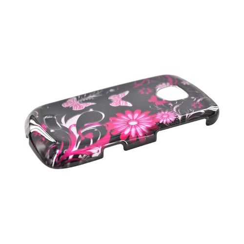 Samsung Droid Charge Hard Case - Pink Butterflies & Flowers on Black
