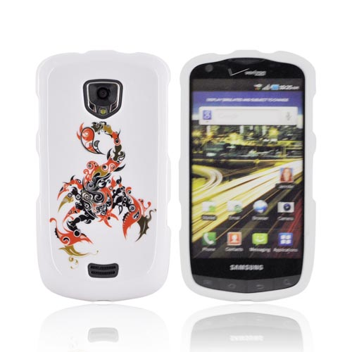 Samsung Droid Charge Hard Case - Red/ Black Scorpion on White