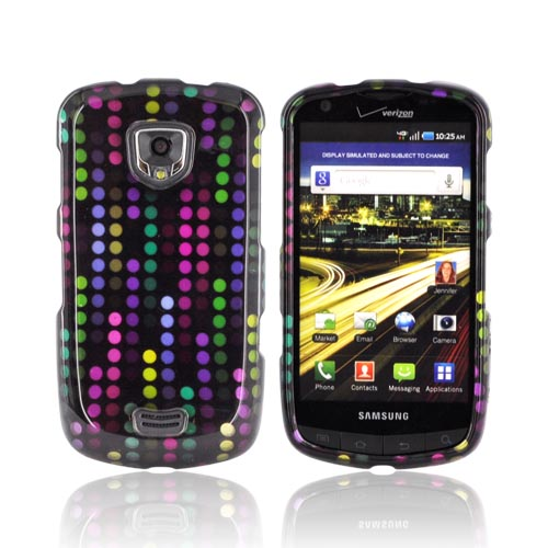 Samsung Droid Charge Hard Case - Rainbow Falling Dots on Black