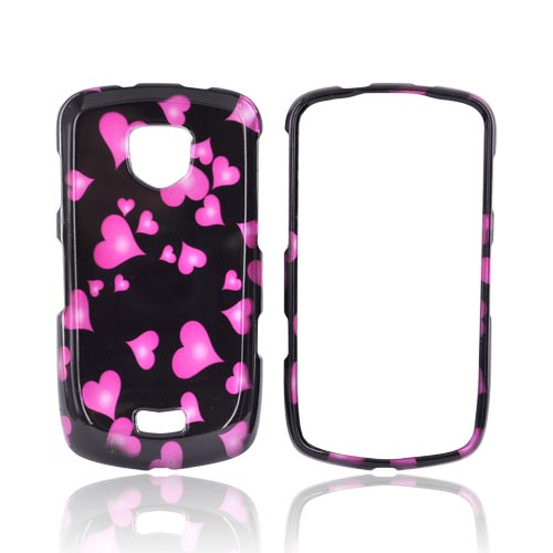 Samsung Droid Charge Hard Case - Pink Raining Hearts on Black
