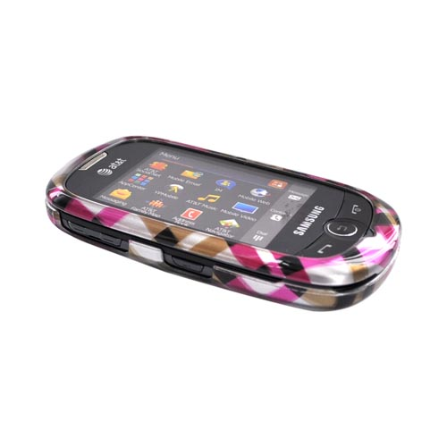 Samsung Flight II A927 Hard Case -Checkered Design of Pink, Hot Pink, Brown, Grey