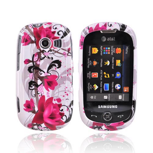 Samsung Flight II A927 Hard Case - Pink Flower on White