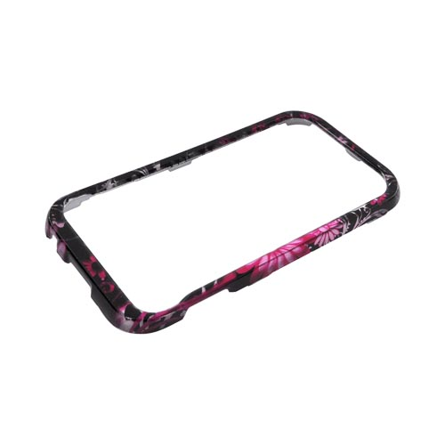 Samsung Conquer 4G Hard Case - Pink Flowers & Butterflies on Black