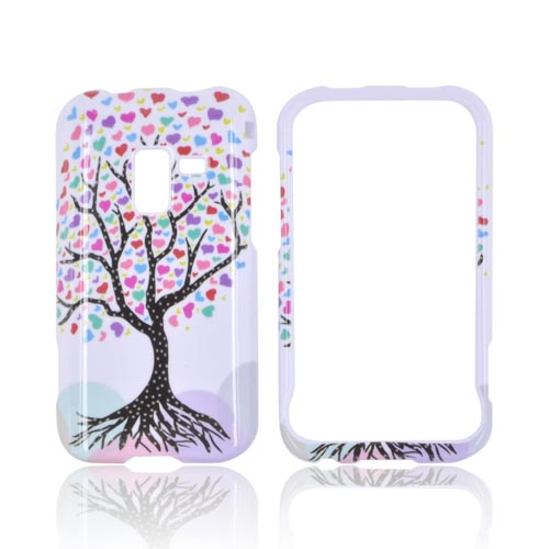 Samsung Conquer 4G Hard Case - Black Tree w/ Multi-Colored Hearts on White