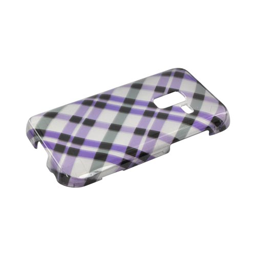 Samsung Conquer 4G Hard Case - Purple Plaid on Silver