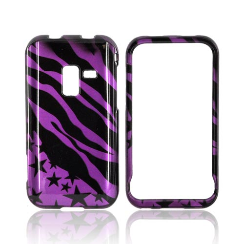 Samsung Conquer 4G Hard Case - Purple/ Black Zebra & Stars