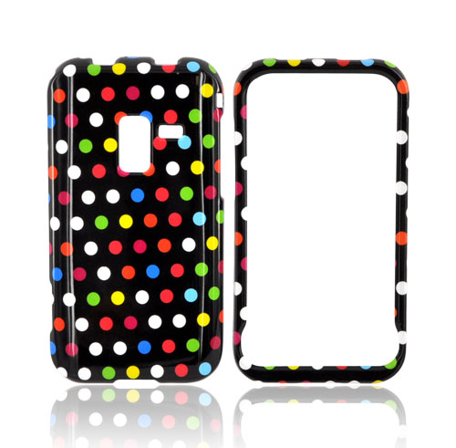 Samsung Conquer 4G Hard Case - Rainbow Polka Dots on Black