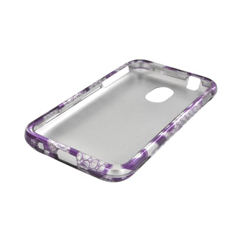 Samsung Epic 4G Touch Hard Case - Purple Lace Flowers on Silver