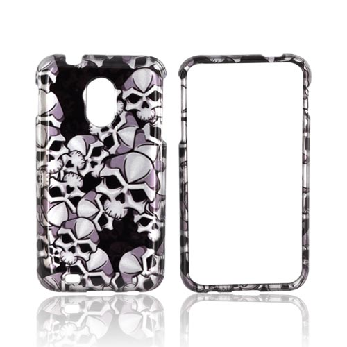 Samsung Epic 4G Touch Hard Case - Silver Skulls on Black